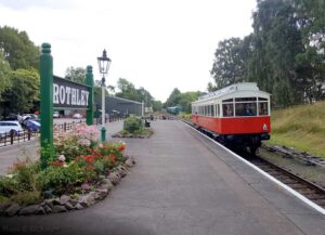 """A scene from the present day as the 1903 NER Autocar passes through Rothley Station while on test."" - Photo © GCR/AJM."