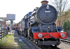 """The arrival of a King... Back in 2013, visiting GWR King Class 6023 'King Edward II' stands at Loughborough Central having arrived with a passenger train from Leicester North."" - Photo © Peter Salmon."