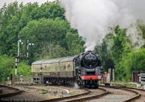 """As passenger trains return to the Great Central, we look back to a previous event when 9F 92214 appeared as 92220 'Evening Star', famously the last steam locomotive built by British Railways."" - Photo © Stephen Bottrill."