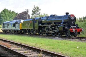 """Generations of motive power on display as Stanier Class 5 45305 and BR Class 37 37714 arrive at Quorn & Woodhouse ahead of this weekend's reopening event."" - Photo © Peter Salmon."