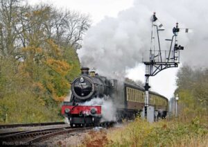 """GWR Modified Hall 6990 'Witherslack Hall' adds colour to an overcast afternoon on the approach to Swithland Sidings."" - Photo © Peter Salmon."