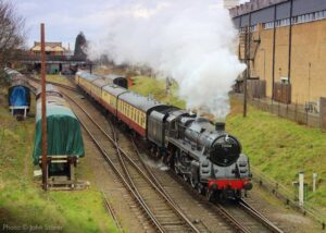 """""""The beginning of a train journey, powered by steam... The south end of Loughborough Central station is the setting as BR Standard Class 5 73156 departs."""" - Photo © John Storer."""