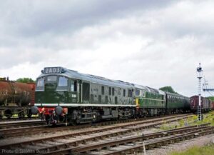 """""""Sulzer power on a busy main line, recreating a scene from the 1960s... Sulzer Type 2 D5185 and BRCW Type 2 D5401 pass Swithland Sidings prior to the commissioning of the signal box"""". - Photo © Stephen Bottrill."""