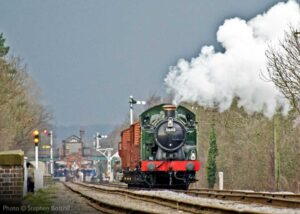 """""""A different perspective... Visiting GWR 5600 Class 5643 steams along the long straight south of Quorn &amp; Woodhouse"""".</strong><br /> The photograph also provides a good view of signalling at Quorn &amp; Woodhouse, with ten signals clearly visible. - Photo © Stephen Bottrill."""