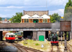 """A busy scene at Loughborough Central on 2nd August 2020, with 6990 'Witherslack Hall', NER Autocar 3170, and a Metro Cammel diesel railcar all in view"". - Photo © Alan Weaver."