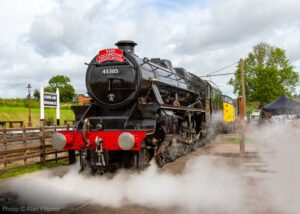 """""""Stanier Class 5 45305 'Alderman A.E. Draper' puts on a show for visitors in the station yard at Quorn & Woodhouse in early August."""" - Photo © Alan Weaver."""