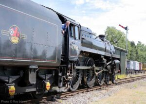 """""""Steam power in motion... British Railways Standard Class 5 73156 accelerates away from Rothley with a crew refresher train during July 2020"""". - Photo © Roy Harris."""