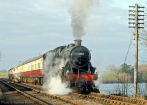 """""""One of Sir William Stanier's earlier designs for the LMS, 2-6-0 42968 crosses Swithland Viaduct during a popular visit to the Great Central"""". - Photo © Stephen Bottrill."""