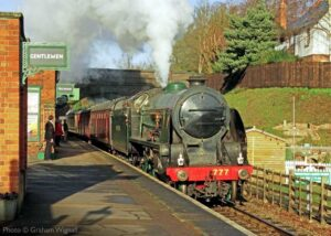 """""""An early afternoon arrival at Rothley... King Arthur Class 777 'Sir Lamiel' makes an impressive entrance with a train for Leicester North"""". 777 Sir Lamiel is owned by the National Railway Museum. Photo © Graham Wignall."""