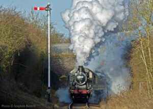 """""""The power of a steam locomotive at work... Ivatt Class 2 46521 ascends the 1-in-176 gradient south of Rothley, towards Leicester North"""". Photo © Stephen Bottrill."""
