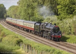 """""""A steam hauled express with British Railways Standard Class 5 73156, steaming through the Leicestershire countryside."""" 73156 is due to haul our passenger trains this weekend 22nd and 23rd August 2020, and Ivatt Class 2 46521 and English Electric Type 1 D8098 are on static display. Photo © John Bagshaw."""