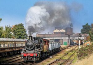 """""""Early afternoon at Loughborough Central, and a short mineral train crosses on to the Up Main to head south"""". Photo © Alan Weaver."""