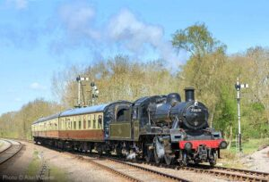 """""""British Railways Standard Class 2 78019 draws a passenger train into the Up Loop at Swithland Sidings, on a bright afternoon in Leicestershire"""". Photo © Alan Weaver."""