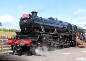 """""""Stanier Class 5 45305 stands on display at Quorn & Woodhouse as passenger trains resumed at the GCR in July 2020"""". Photo © Roy Harris."""