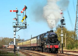 """""""Steaming forward on a bright Leicestershire day... Stanier Class 5 45305 passes Swithland Sidings with a train for Leicester North"""". Photo © Alan Weaver."""