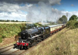 """""""Bank Holiday weekend at the Great Central, as Stanier Class 5 45305 'Alderman A.E. Draper' approaches Quorn & Woodhouse with empty coaching stock for the first train of the day"""". Photo © John Smith."""