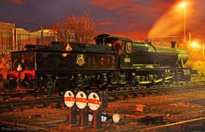 """""""An evening scene at Loughborough Central as visiting GWR 2-8-0 3850 is stabled after busy day of work"""". - Photo © Peter Salmon."""