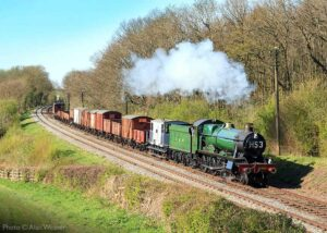 """""""Mixed-traffic work for a Hall... Visiting GWR Modified Hall 6960 'Raveningham Hall' hauls a mixed goods train during a visit to the Great Central in early 2015."""" - Photo © Alan Weaver."""