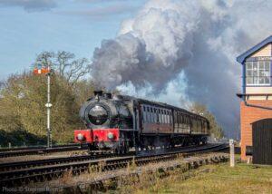 """On a sunny November morning, Hudswell Clarke 0-6-0 68067 works a passenger train past Swithland Sidings."" - Photo © Stephen Bottrill."