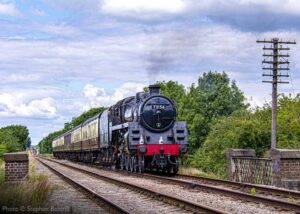 """""""Taking strides forward... Locomotive crew refresher trains ran throughout July 2020 in preparation for the resumption of passenger services. British Railways Standard Class 5 73156 was the rostered locomotive on 11th July."""" - Photo © Stephen Bottrill."""