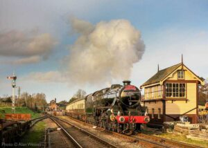 """""""A journey begins from Quorn & Woodhouse... Stanier Class 5 45305 makes a spirited departure with a southbound passenger train."""" - Photo © Alan Weaver."""