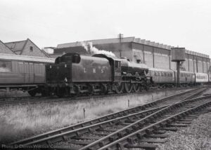 """""""On 18th August 1991, Stanier Jubilee 5593 'Kolhapur' runs round at Loughborough Central in preparation for the next departure."""" - Photo © Dennis Wilcock Collection."""