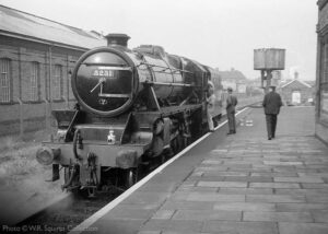 """""""Stanier Class 5 5231 stands in Platform 2 at Loughborough Central, and receives attention to the cabside lettering on October 6th 1973."""" - Photo © W.R. Squires Collection."""