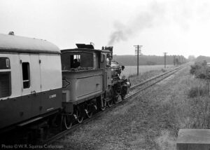 """""""Looking back to early in the preservation era, ex-Norwegian Railways 2-6-0 377 'King Haakon VII' is pictured south of Quorn &amp; Woodhouse with a train for Rothley.""""</strong><br /> Photo © W.R. Squires Collection."""