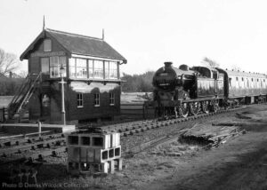 """""""An image from the archives, Gresley N2 69523 passes Quorn & Woodhouse Signal Box on 14th November 1987."""" - Photo © Dennis Wilcock Collection."""