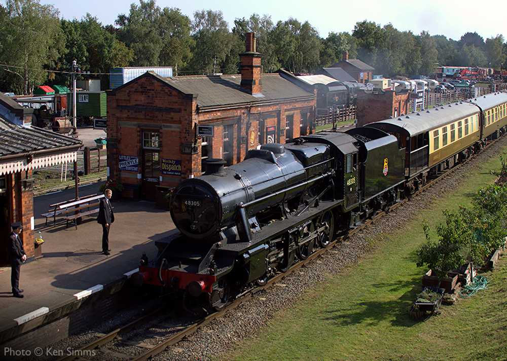 """""""Stanier Class 8 48305 steams through Quorn & Woodhouse on a mid-September afternoon."""" - Photo © Ken Simms."""