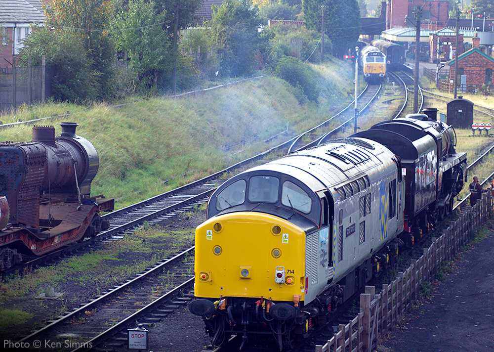 """""""Generations of motive power on display at Loughborough Central with 37714, 73156, 50017, and the boiler of 63601 all in view."""" - Photo © Ken Simms."""