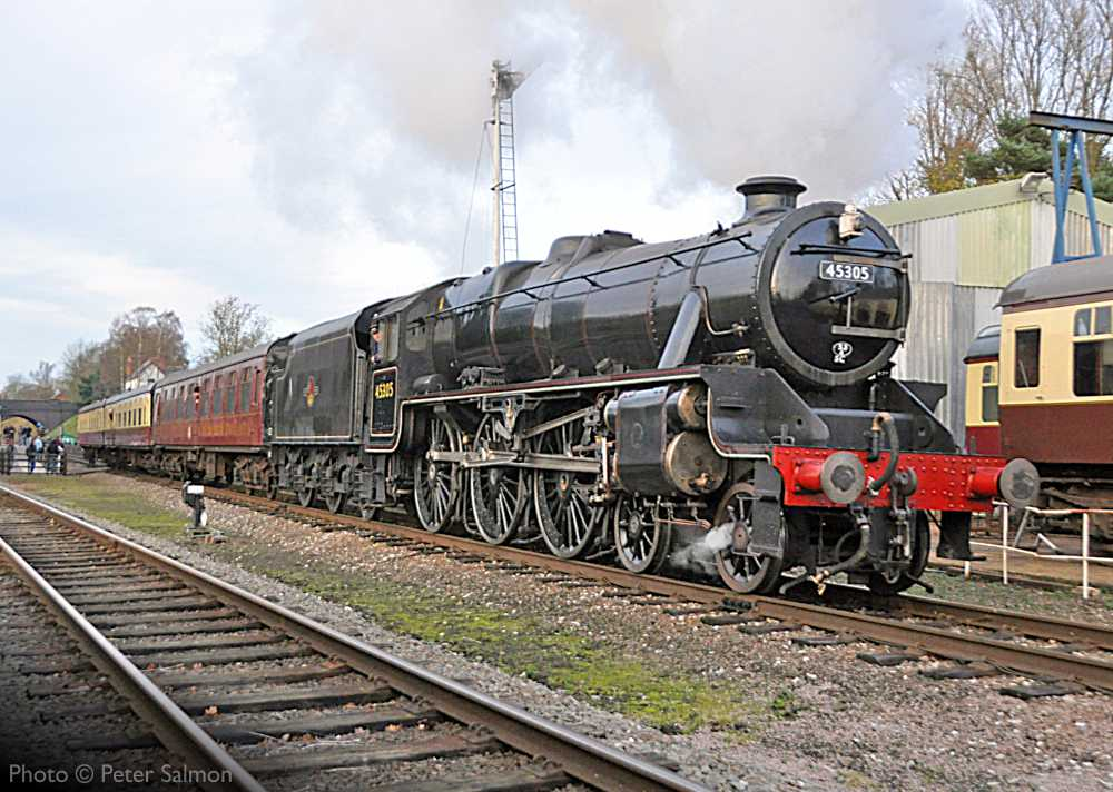 """""""Class 5 under way... Stanier Class 5 45305 passes the GCR's Carriage & Wagon works at Rothley with a short local passenger train."""" - Photo © Peter Salmon."""
