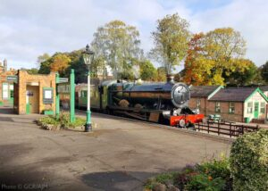 """It's a lovely day to travel by train.... 6990 ""Witherslack Hall"" glides through Rothley with the first train of the day on Sunday 11th October 2020."" - Photo © Great Central Railway/AJM."