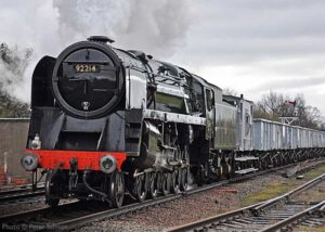 """""""At home on the freight... British Railways Standard Class 9F 92214 hauls a northbound mineral train during a Great Central steam gala."""" - Photo © Peter Salmon."""