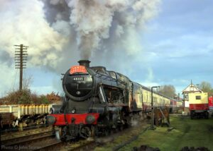 """""""Saturday 5th December 2020 saw the welcome return of a very important person, as Santa travelled on his special train, hauled by Stanier Class 8 48305."""" - Photo © John Storer."""