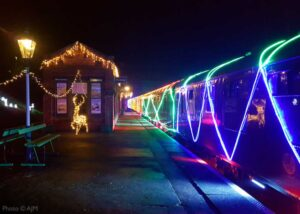 """""""The magical journey returns... The Winter Wonderlights train steams through Rothley in early December 2020."""" - Photo © AJM."""