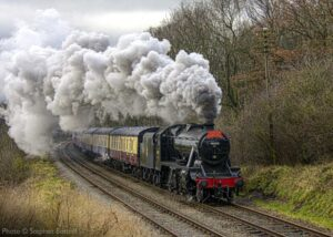 """""""No shortage of atmosphere as the Santa Express steams through Leicestershire on 6th December 2020."""" - Photo © Stephen Bottrill."""