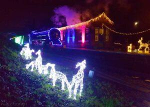 """A festive transformation... The Winter Wonderlights train passes through Rothley Station just before Christmas 2020."" - Photo © GCR/AJM."