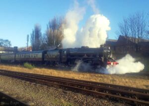 """""""The beginning of another enjoyable journey... Stanier Class 5 45305 steams away from Loughborough Central with the first departure of the day on Sunday 27th December 2020."""" - Photo © GCR/AJM."""