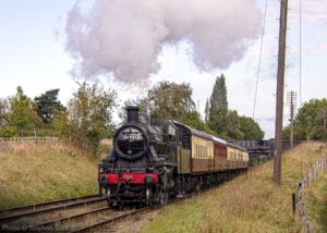 """""""Ivatt Class 2 46521 makes the journey between Loughborough Central and Quorn & Woodhouse during September 2020"""". We will continue to post images regularly during the newly announced national restrictions, and look forward to running passenger trains again, and welcoming you back to the railway when the situation improves. Please stay safe! - Photo © Stephen Bottrill."""