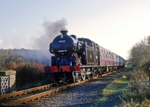 """""""Great Northern Railway N2 1744 (appearing here in later British Railways livery with number 69523) approaches Quorn & Woodhouse with a passenger train from Rothley in November 1987"""". - Photo © Syd Hancock."""