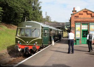 """""""Metro-Cammell diesel railcars became a common sight on the British Railways network from the mid-1950s, with many remaining in service on the national network until the turn of the century. Here, the crew of a diesel railcar shuttle service awaits the next departure from Rothley station in August 2020."""" - Photo © Roy Harris."""