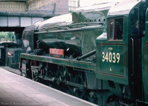 """""""Boscastle on the GCR... The popular West Country Class loco stands in Platform 2 at Loughborough Central during the previous boiler ticket"""". - Photo © Boscastle Locomotive Ltd."""