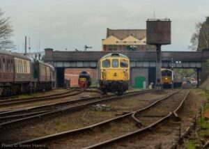 """One of our volunteers who enjoys the daily gallery has jokingly asked us """"When is Point Machine Monday?"""". We aim to please: """"BRCW Type 3 D6535 passes over the motor-operated number 32 points at the south end of Loughborough Central, with four other diesel locos also in view"""". - Photo © Steven Havers."""