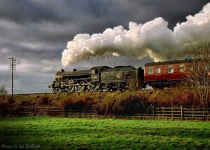"""""""The majestic sight of a steam locomotive at work... Thompson B1 61264 works a passenger train through the Leicestershire countryside between Loughborough Central and Quorn & Woodhouse"""". - Photo © Ian Duffield."""