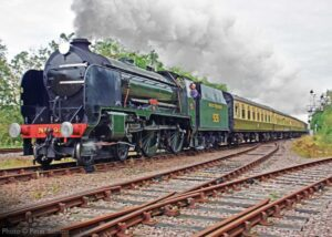 """""""A Southern Railway excursion... Visiting Schools Class 926 'Repton' steams past Swithland Sidings with a train for Leicester North during a popular visit to the GCR in 2019."""" - Photo © Peter Salmon."""