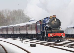 """""""With snow falling in Leicestershire today, we look back to similar conditions from the same weekend eight years ago, as GWR King 6023 'King Edward II' steams past Swithland Sidings."""" - Photo © Paul Callow."""