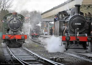"""""""A busy scene in January 2014 at Loughborough Central as visiting GWR 5600 Class 5643 waits alongside Fowler 3F 47406, with BR Standard Class 2 78019 in the background."""" - Photo © Peter Salmon."""