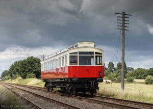 """""""A popular visitor to the GCR... 1903 North Eastern Railway Electric Autocar 3170 approaches Quorn & Woodhouse on a test run in July 2020."""" - Photo © John Smith."""