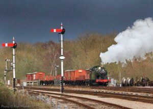 """""""A mixed freight arrives in the loop ready to begin shunting... Visiting GWR 5600 Class 5643 is pictured at Swithland Sidings in January 2014."""" - Photo © Alan Weaver."""